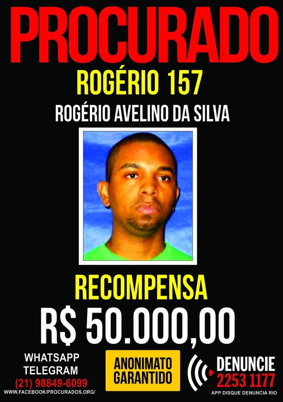 Polícia aumentou a recompensa por Rogério para R$ 50 mil (Foto: Reprodução)