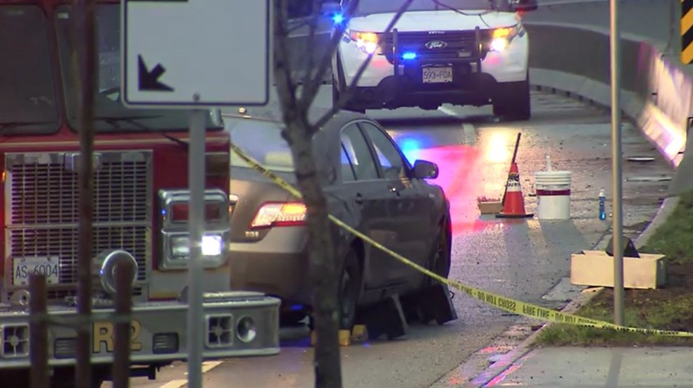 Local onde estudante de Araraquara foi atropelada na quarta, no Canadá (Foto: CTV News Vancouver)