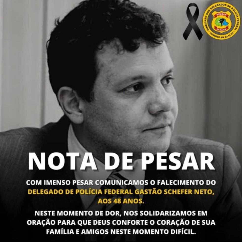 Sindicato dos Delegados de Policia Federal no PR lamentou morte de Schefer — Foto: Sindpf-PR/Divulgação