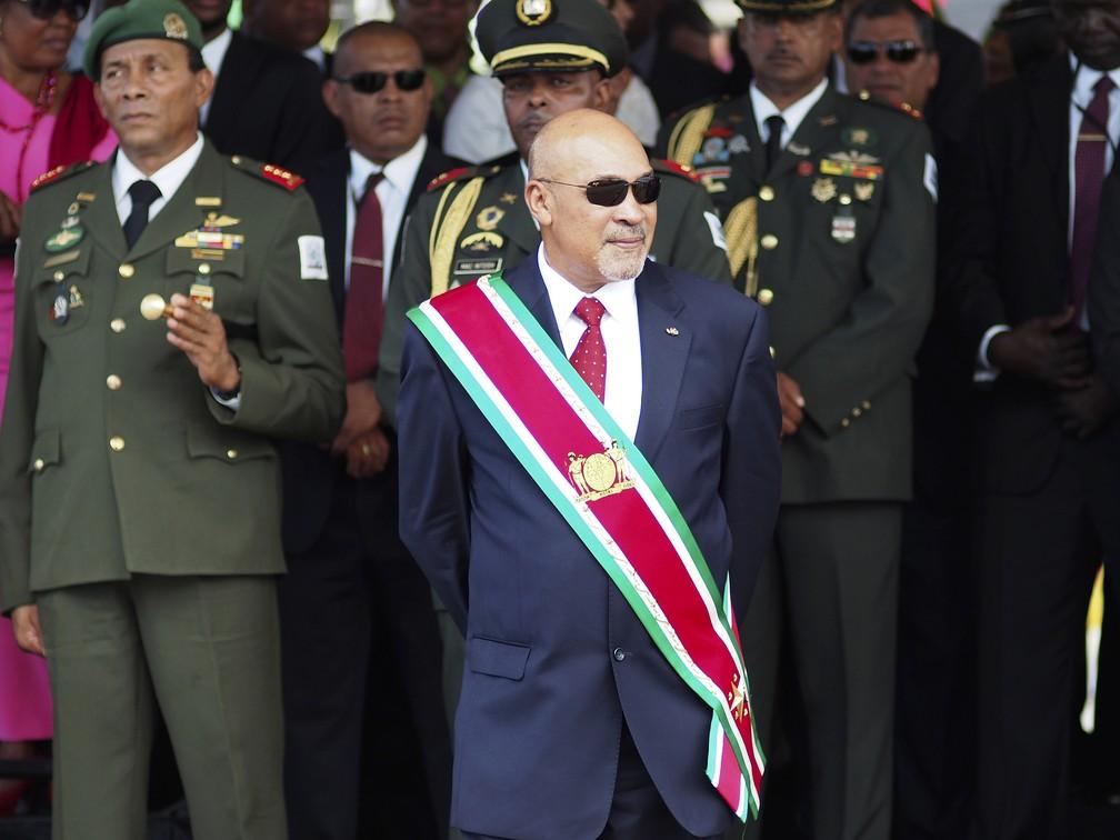 Presidente do Suriname, Dési Bouterse, durante posse para o segundo mandato em 2015 — Foto: Ertugrul Kilic/Arquivo/AP Photo