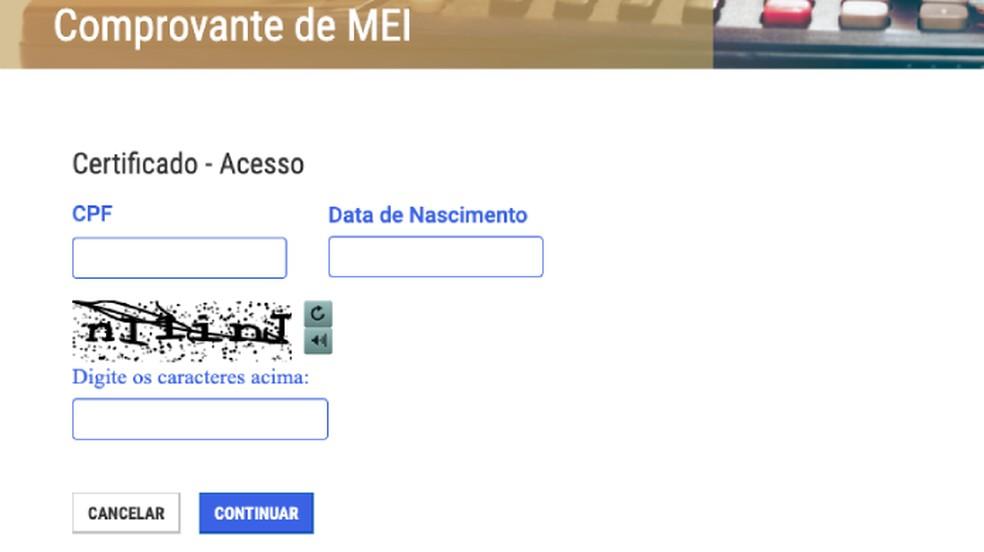 Certificado de MEI pode ser emitido pela internet — Foto: Reprodução/Paulo Alves