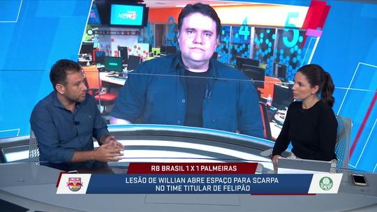 Comentaristas analisaram a estreia de Felipe Pires e a possibilidade de Scarpa ganhar mais espaço com a lesão de Willian