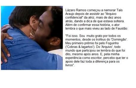 Lázaro Ramos citou apoio com livros e dica para ir atrás de Taís Araujo Reprodução