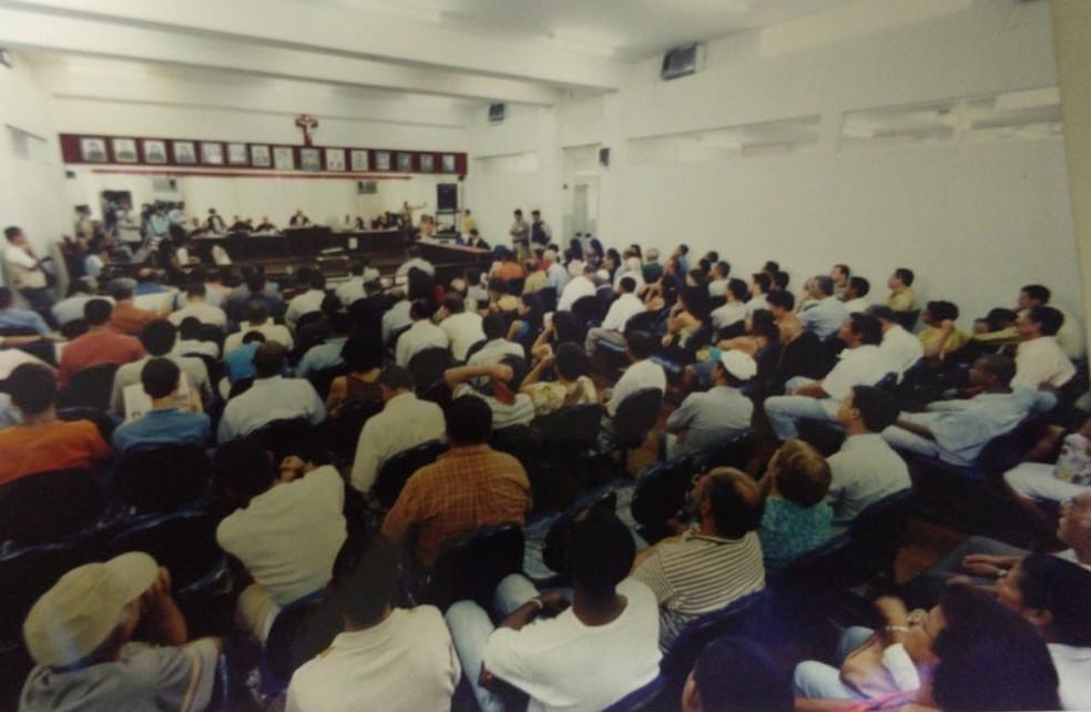 Foto de um dos julgamentos do caso  — Foto: Arquivo Pessoal