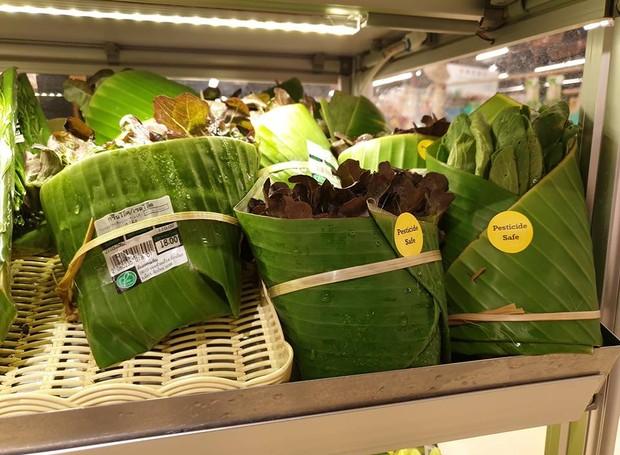A solução substitui o uso do plástico para embalar vegetais (Foto: Facebook/ Reprodução)