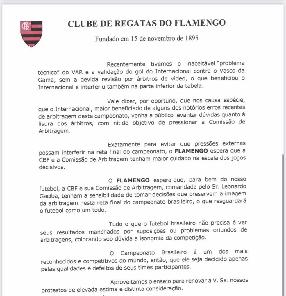 Ofício Flamengo Internacional arbitragem — Foto: ge