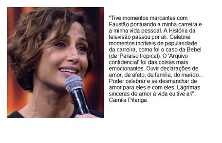 Camila Pitanga cita Bebel e fala das lágrimas derramadas nas homenagens no palco Reprodução