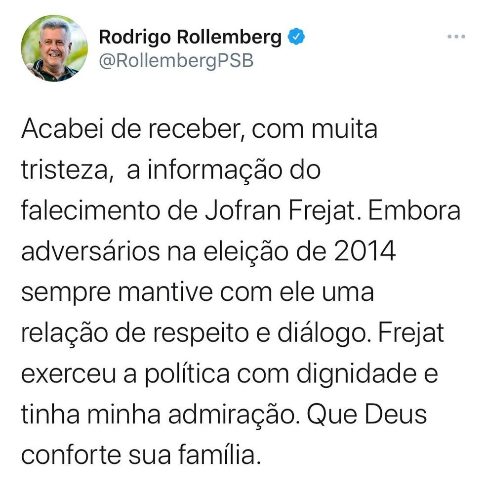 Ex-governador do DF Rodrigo Rollemberg (PSB) lamente morte de Jofran Frejat em rede social — Foto: Twitter/Reprodução