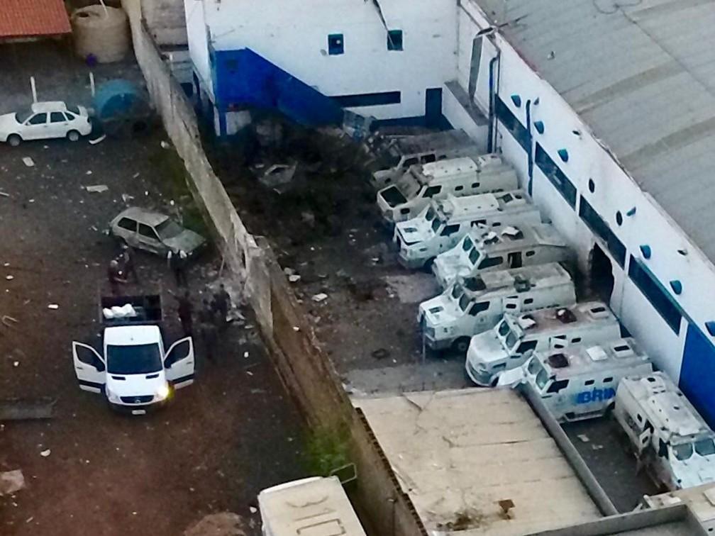 Empresa de valores foi atacada por quadrilha armada na madrugada de segunda-feira (29) em Ribeirão Preto (SP) — Foto: Divulgação