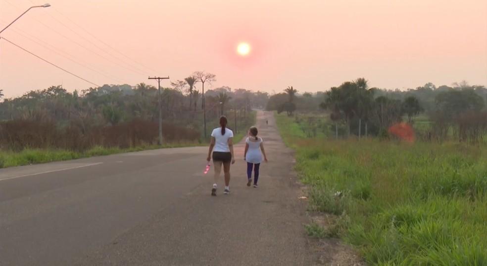 Fumaça de queimadas ainda polui ar de Rio Branco após o início das chuvas  — Foto: Reprodução/Rede Amazônica Acre/Arquivo
