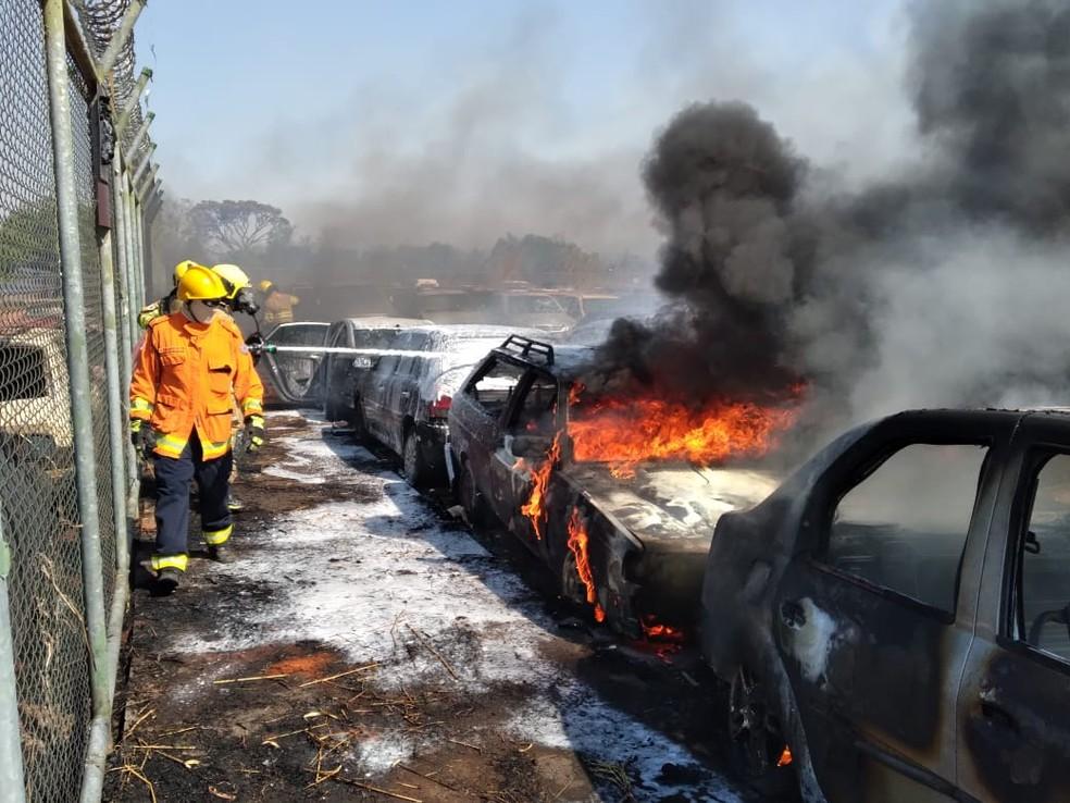 Incêndio destrói carros em depósito da Polícia Civil do DF — Foto: Corpo de Bombeiros/Reprodução