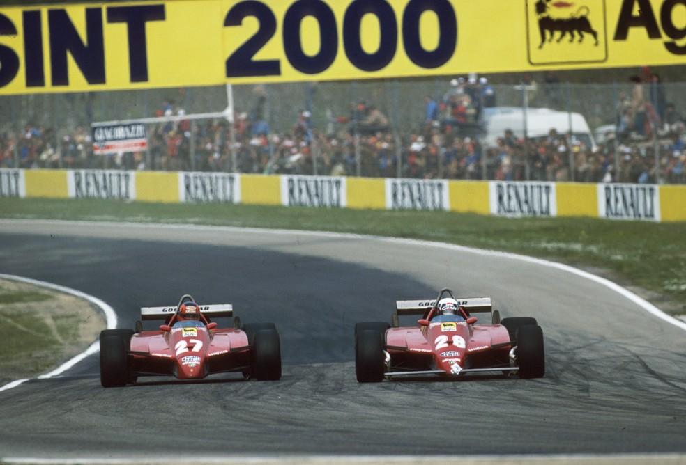 Villeneuve e Pironi romperam relações após controvérsia em Imola, em 1982 — Foto: Getty Images