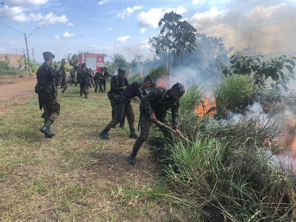 Militares são treinados para ações de combate às queimadas no PA — Foto: Reprodução / Corpo de Bombeiros