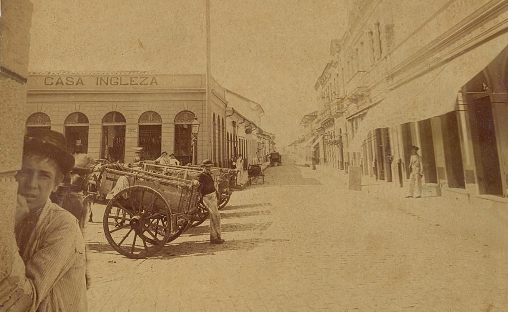 Rua Dr Quirino, na época da epidemia de febre amarela, em Campinas (Foto: Acervo MIS Campinas)