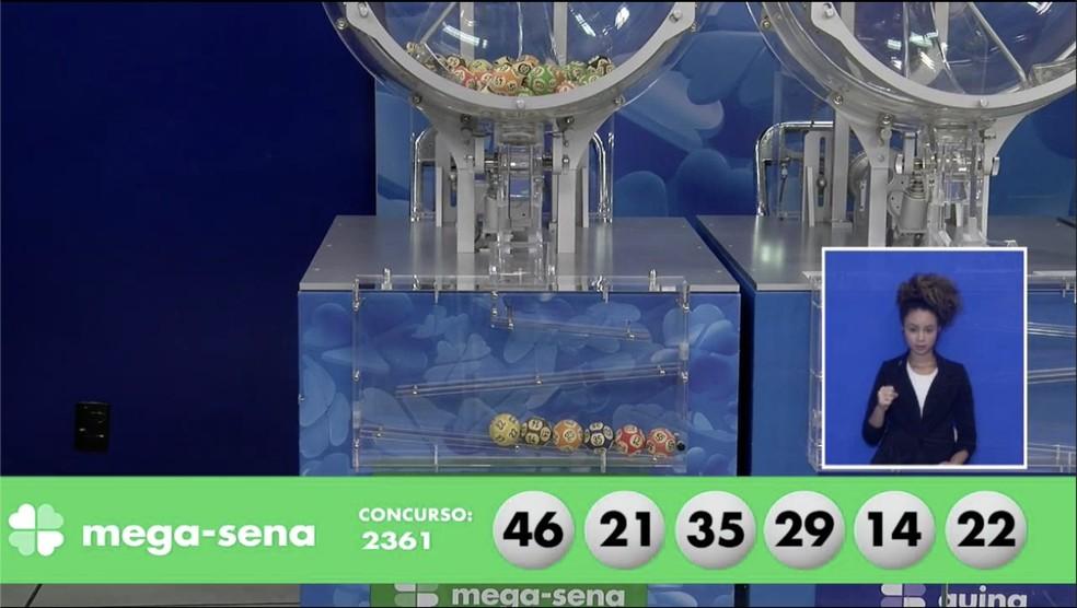 Concurso 2.361 - Mega-Sena — Foto: Reprodução/Loterias Caixa