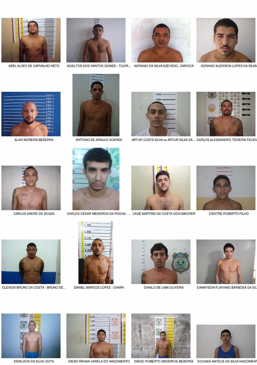 Imagem de fugitivos do PEP, no RN, é compartilhada em grupos de Facebook e Whatsapp em cidades do Sul e Sudeste. 'Estão na região' (Foto: Divulgação/ Sejuc)