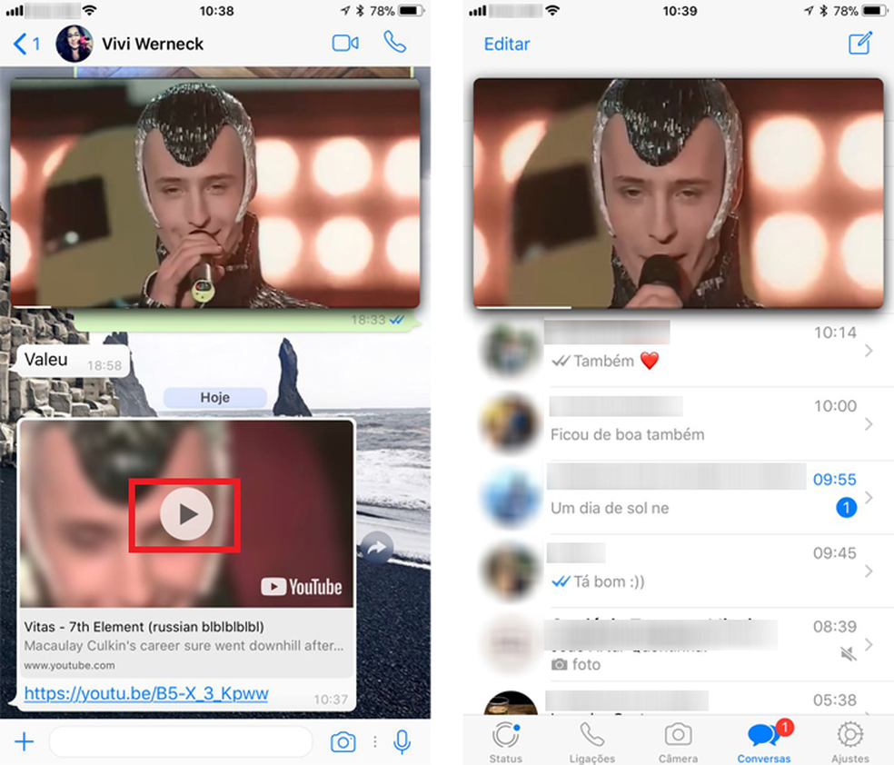 WhatsApp agora permite assistir a vídeos do YouTube sem sair do app (Foto: Reprodução/Anna Kellen Bull)