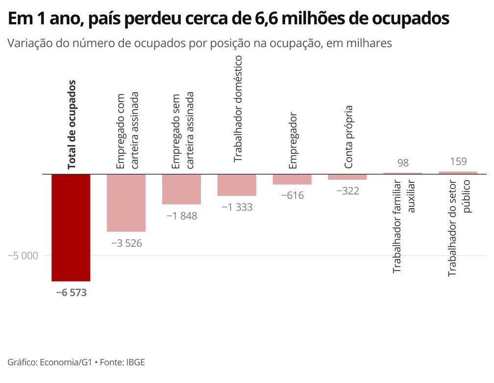 Somente o setor público e o trabalho familiar registrou aumento no número de ocupados — Foto: Economia/G1