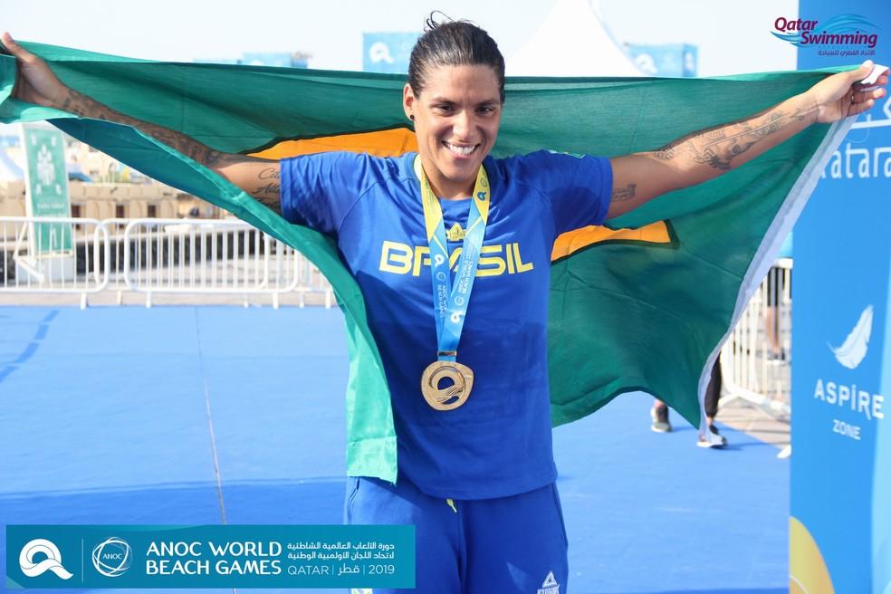 Ana Marcela Cunha segue sua sequência de conquistas — Foto: Qatar Swimming