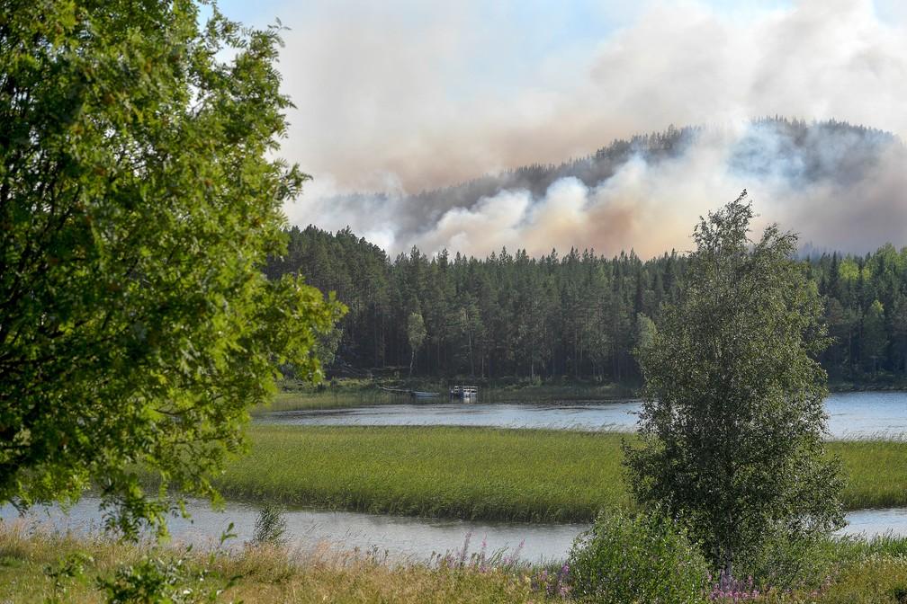 Fogo atinge Enskogen, no centro da Suécia, na terça-feira (17) (Foto: TT News Agency/Maja Suslin/via Reuters)