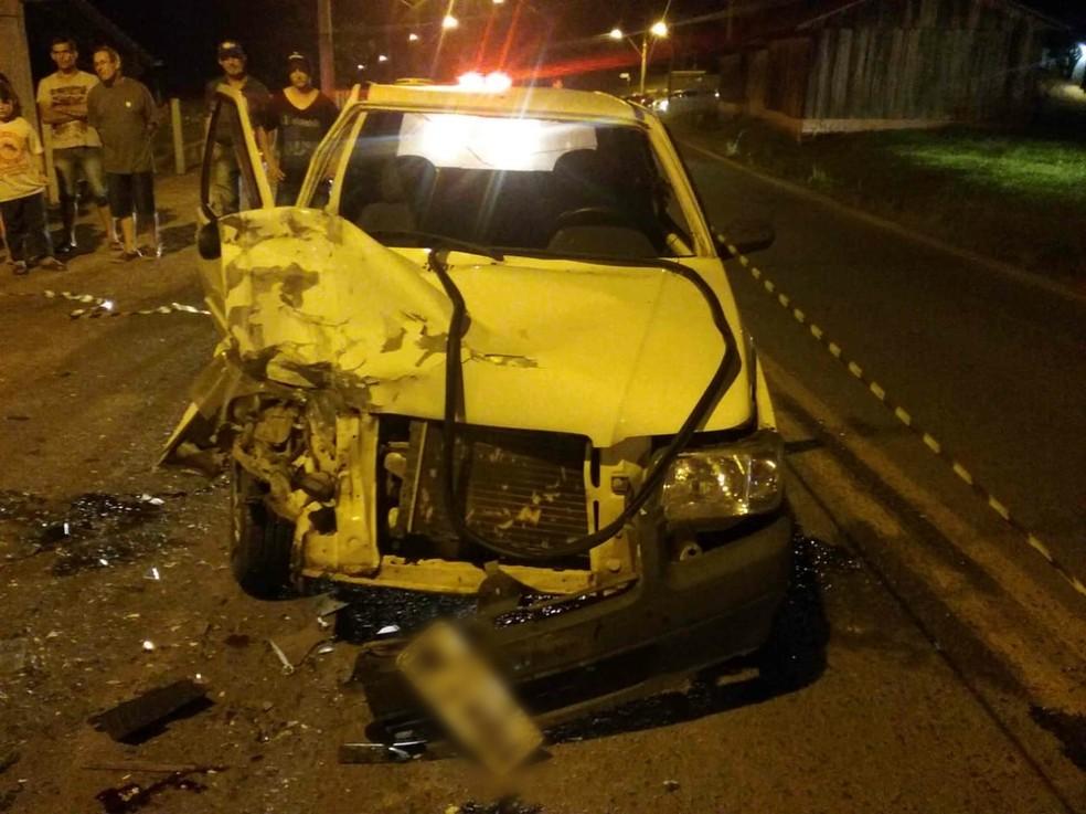 Motociclista sem habilitação colidiu em carro e morreu na SC-477 no Vale do Itajaí — Foto: PMRv/Divulgação