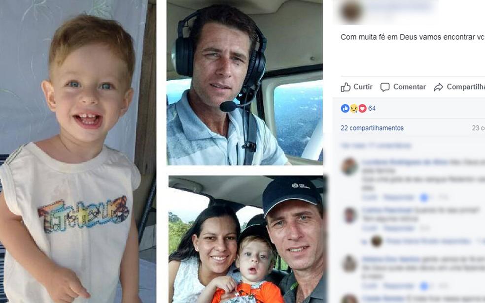 O piloto Leandro Ferreira Pascoal, a mulher e o filho estavam na aeronave que desapareceu (Foto: Facebook/Reprodução)