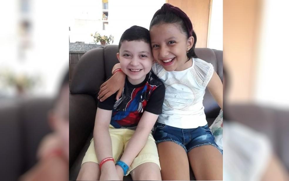Luiz Felipe com a irmã Maria Eduarda — Foto: Walteir Ferreira/Arquivo Pessoal