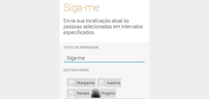 Texto e destinatários do Siga-me definidos (Foto: Reprodução/Raquel Freire)