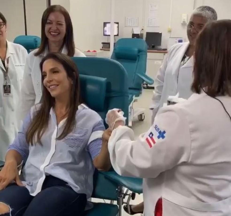 Ivete Sangalo faz doação de sangue em Salvador — Foto: Reprodução/ Instagram