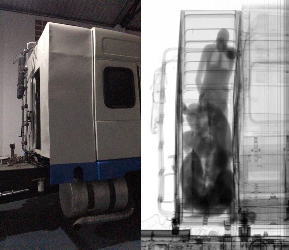 Drogas e pessoas foram identificadas em compartimento secreto em caminhão no Porto de Santos, SP  — Foto: G1 Santos