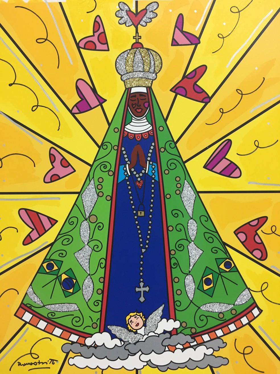-  Romero Britto pinta quadro para homenagear a padroeira.  Foto: Reprodução/Romero Britto