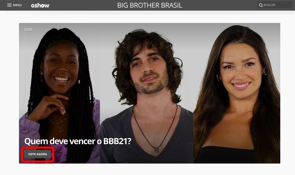 Votar BBB 2021: votação do BBB já está aberta no Gshow — Foto: Reprodução/TechTudo