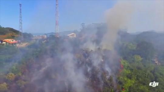 Fogo atinge floresta em Itajaí e é controlado próximo a área residencial