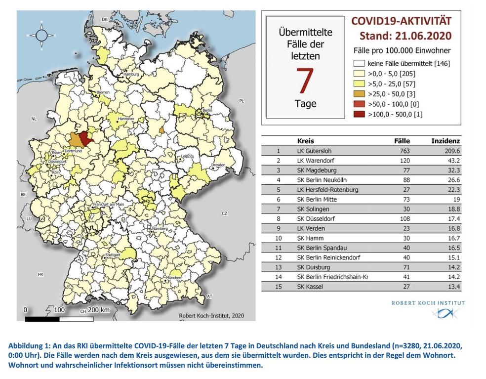 Mapa da Alemanha mostra regiões com mais casos da Covid-19 por 100 mil habitantes; cidades do estado Renânia do Norte-Vestfália têm taxas mais altas — Foto: Reprodução/ COVID-19-Lagebericht vom 21.06.2020 Robert Koch-Institut