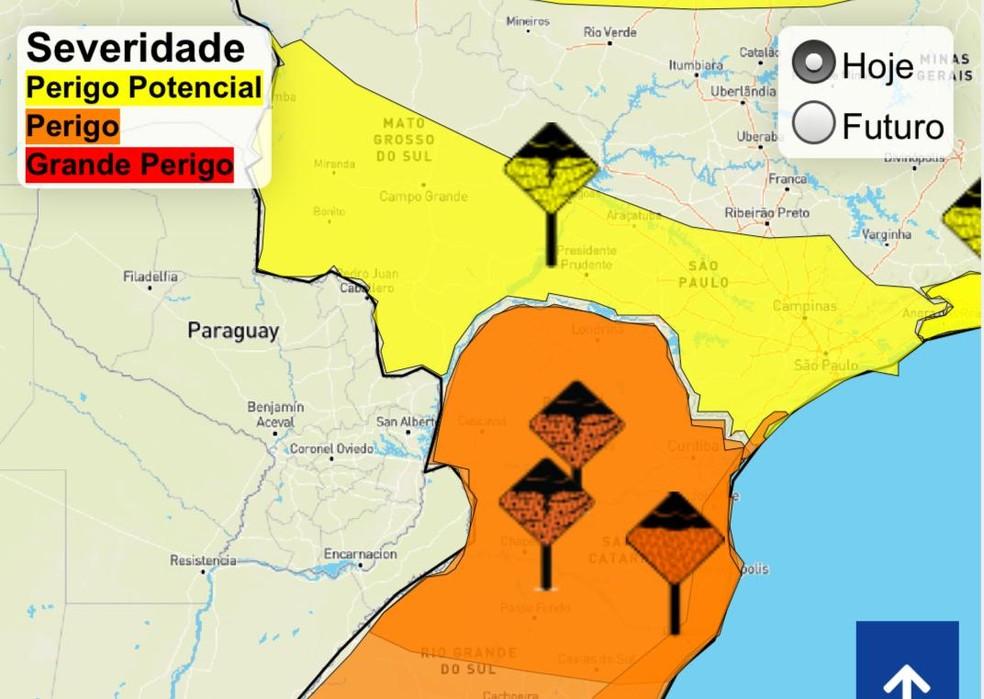 Inmet emite alerta de perigo potencial de chuvas intensas para 65 municípios da MS— Foto: Reprodução/Inmet