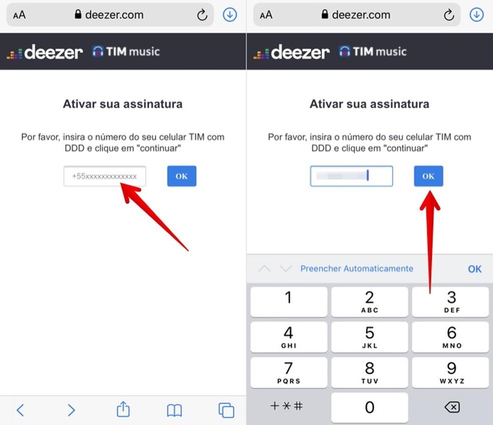 Ativando plano Deezer Premium da TIM no celular — Foto: Reprodução/Helito Beggiora