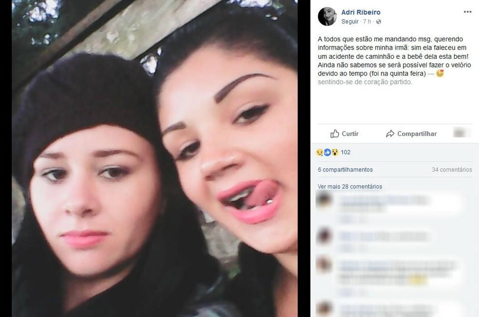 Adriele e Ingrid (à direita). Adriele confirmou nas redes sociais a morte da irmã: 'Ela faleceu em um acidente de caminhão e a bebê dela está bem' (Foto: Reprodução/Facebook)