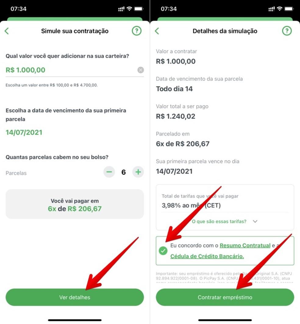 Fazendo simulação e contratando empréstimo para pegar dinheiro emprestado no PicPay — Foto: Reprodução/Helito Beggiora