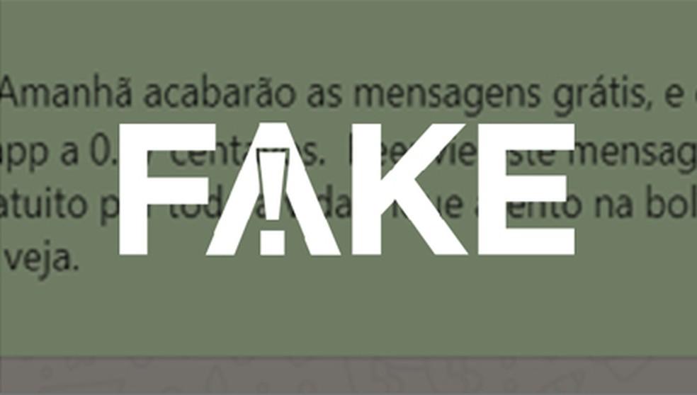 É #FAKE que WhatsApp passará a cobrar 37 centavos por envio de mensagens — Foto:  Reprodução