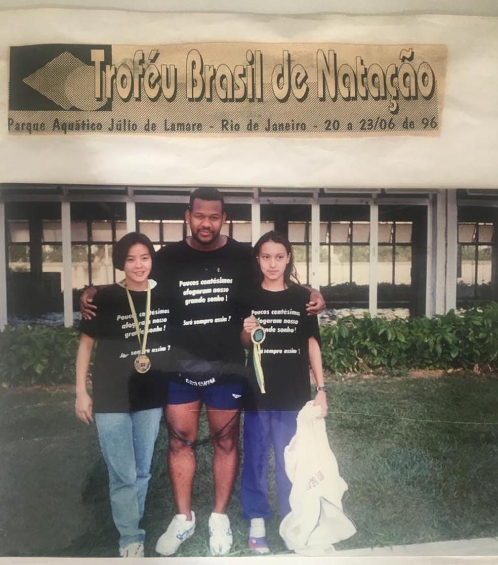 Poliana Okimoto no Troféu Brasil de 1996, à direita — Foto: Arquivo pessoal