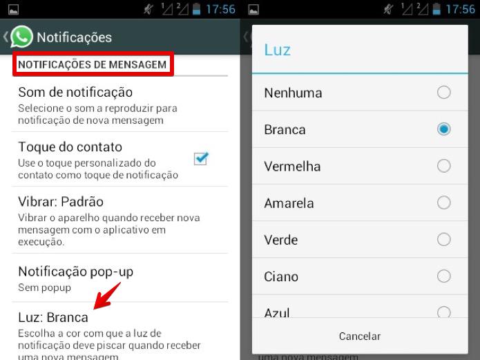 Personalizando a luz de notificação do WhatsApp (Foto: Reprodução/Helito Bijora)