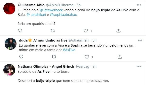 Internautas comentam cena de beijo triplo em 'As five' (Foto: Reprodução)