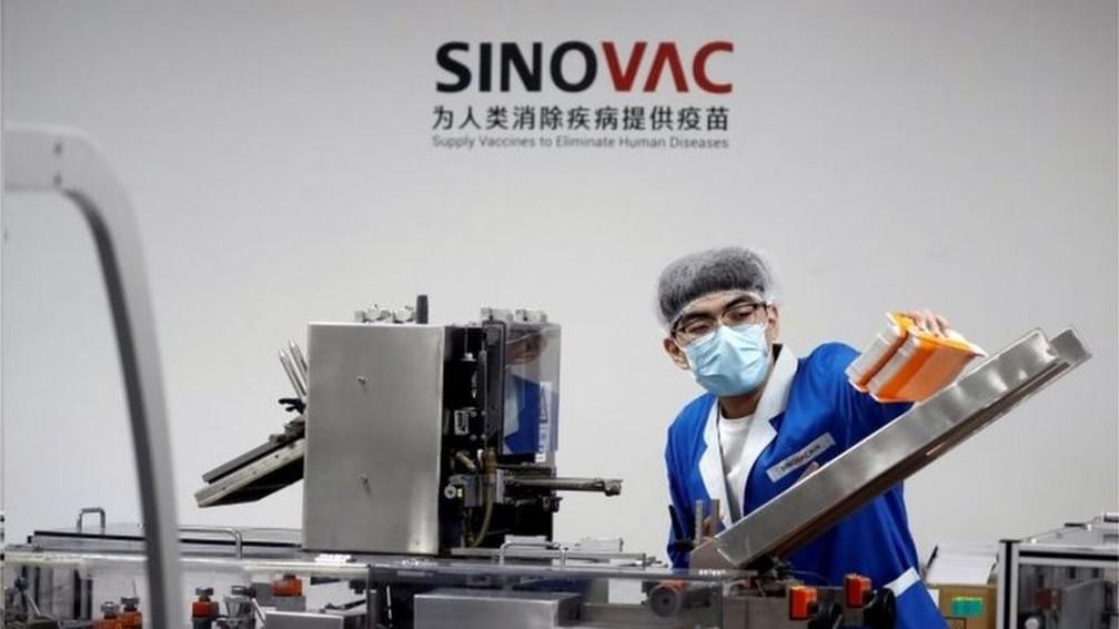 CoronaVac é a vacina contra o coronavírus desenvolvida pela empresa chinesa Sinovac em parceira com o Instituto Butantan — Foto: Reuters