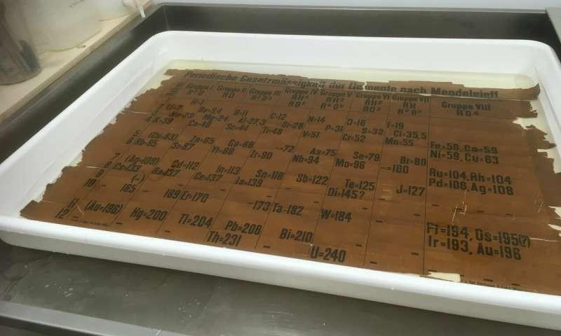 Tabela periódica antiga em tratamento de lavagem (Foto: University of St Andrews)
