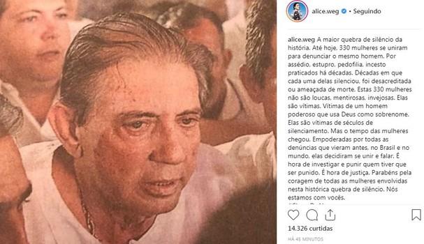 Famosas se manifestam contra João de Deus (Foto: Reprodução/Instagram)