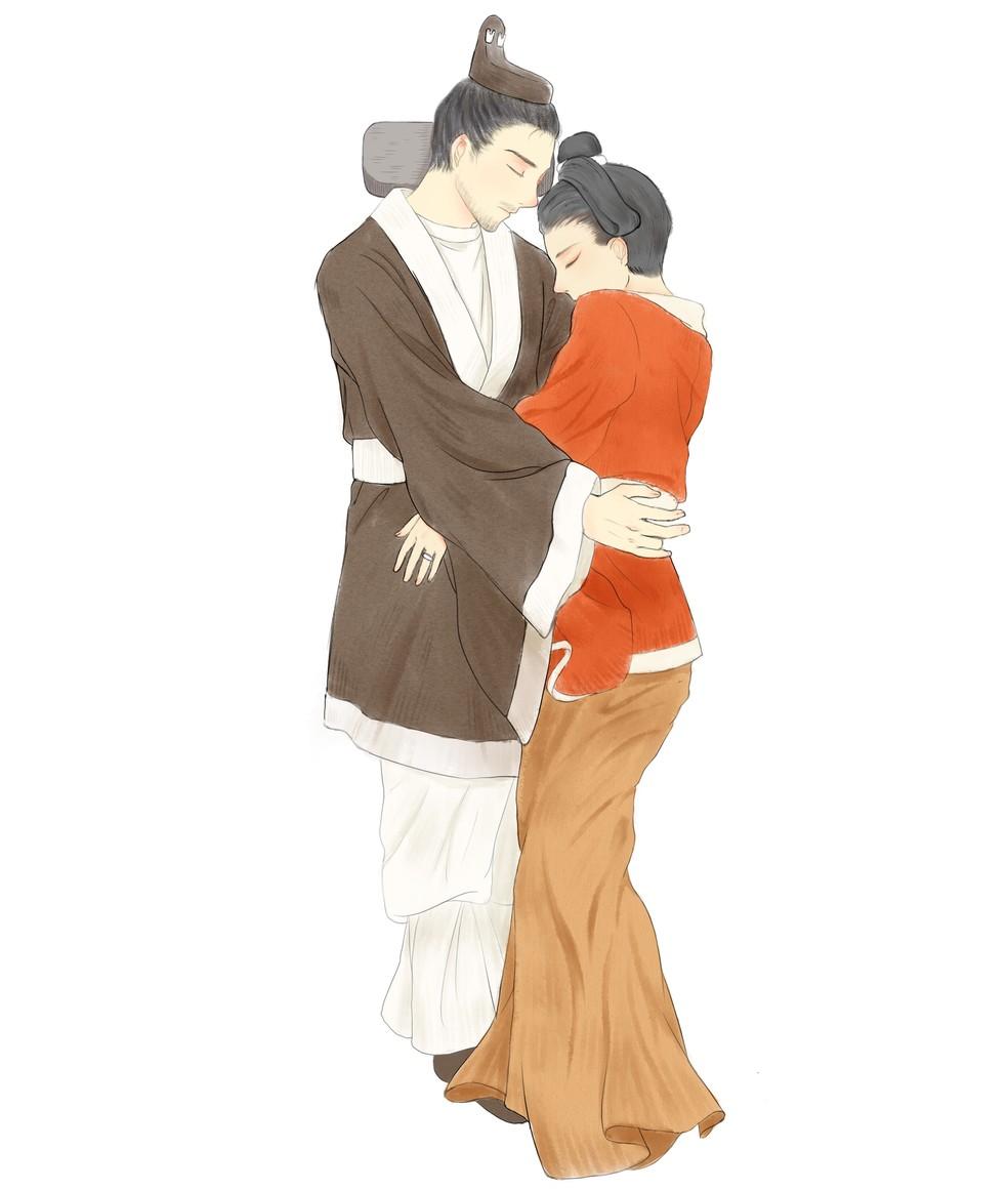 Ilustração de Anqi Wang mostra como o casal deve ter sido enterrado — Foto: Anqi Wang/Cortesia