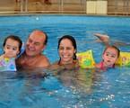 Claudia Mauro e Paulo César Grande com os filhos Pedro e Carolina   Reprodução