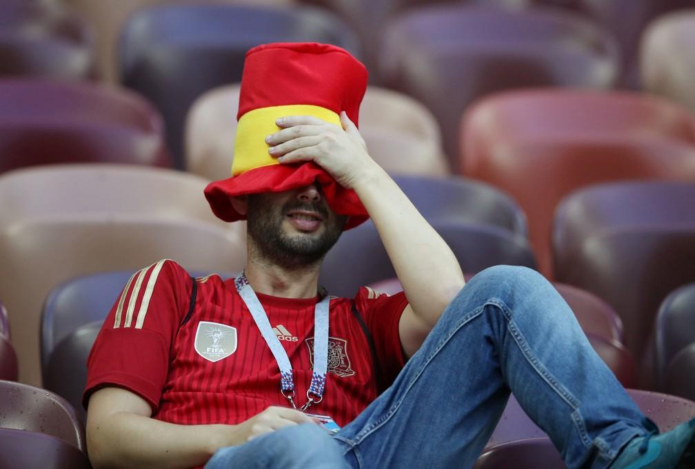 1° de julho - Torcedor da Espanha após o jogo Espanha x Rússia, em Moscou, na Rússia (Foto: Carl Recine/Reuters)