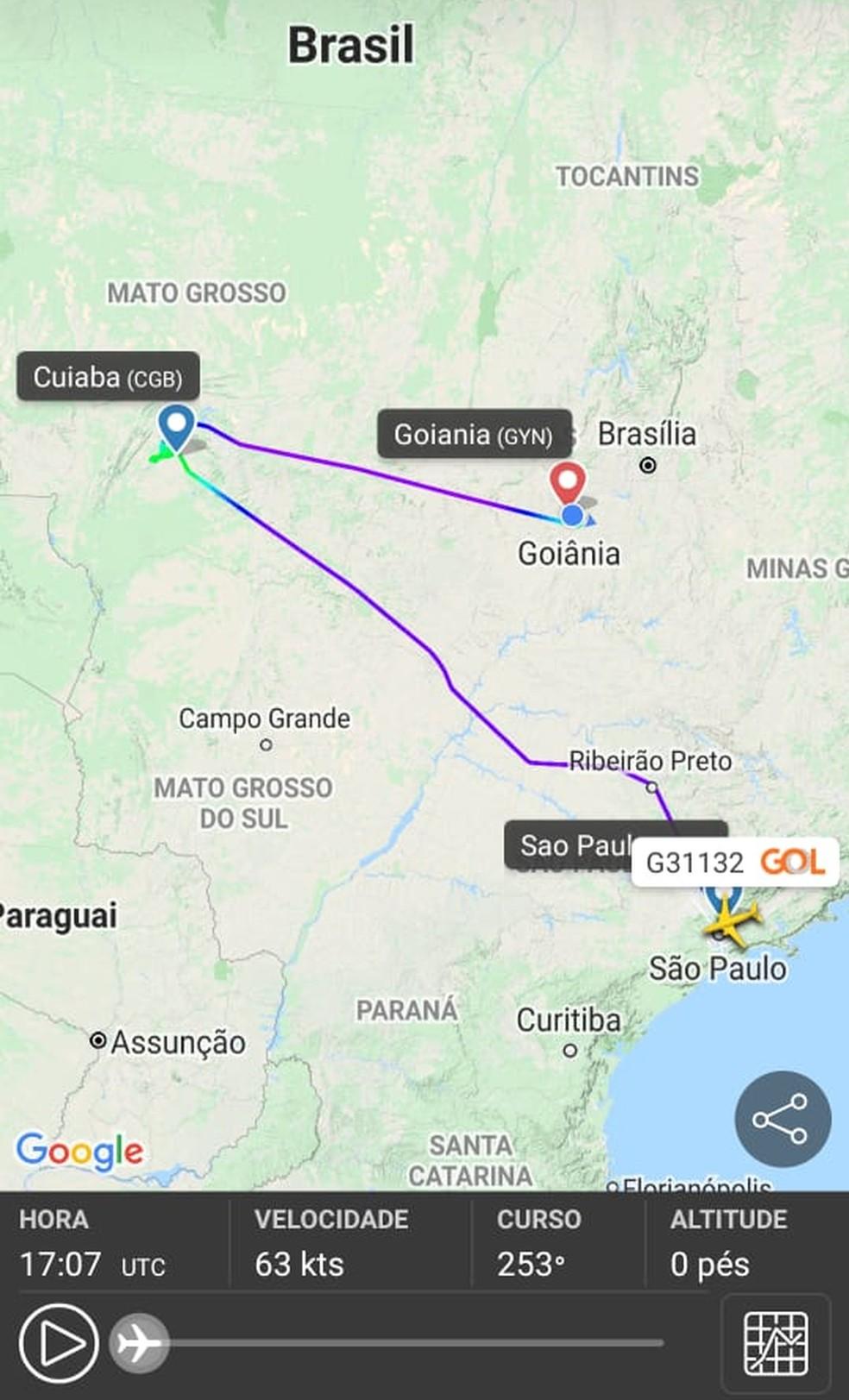 Mapa mostra trajeto feito pela aeronave — Foto: Arquivo pessoal