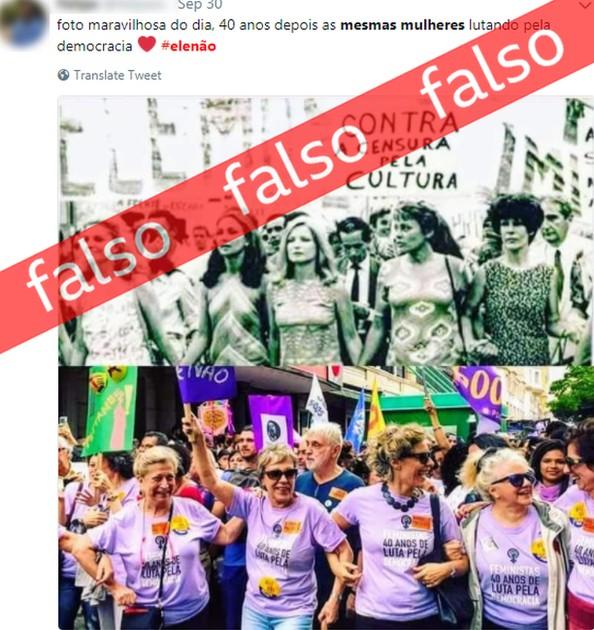 A foto antiga, da Passeada dos Cem Mil, contra a ditadura militar, reúne várias artistas famosas: Tonia Carrero, Eva Wilma, Odete Lara, Leila Diniz e Norma Bengell. (Foto: BBC)